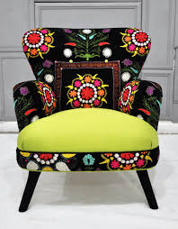 Suzani Fabric Chair Patchwork Armchair With Suzani And Neon Green Velvet Fabrics