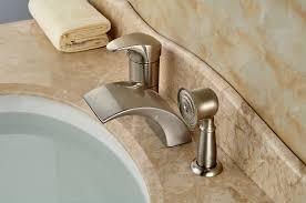 monora brushed nickel waterfall tub faucet three handles widespread waterfall bath faucet best waterfall 2017