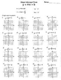 finding slope from a graph worksheet slope intercept form y mx b graphing line blank graph