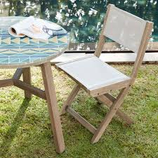 West Elm Outdoor Chairs Portside Folding Textilene Bistro Chair Weathered Grey West Elm Uk