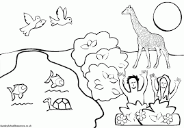 black and white drawing of garden coloring page children many