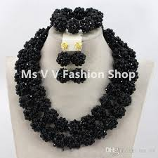 black necklace sets images 2018 new arrival chunky black nigerian bridal beads necklace set jpg