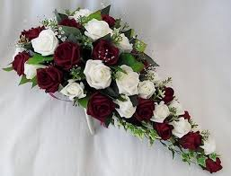 burgundy roses artificial wedding flowers teardrop bouquet for in ivory