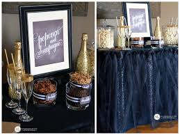 black tulle table skirt popcorn and chagne bar award show viewing party bystephanielynn