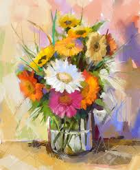 oil painting still life gerbera flowers in glass vase white red and yellow color