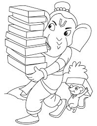 lord ganesha with books coloring page download free lord ganesha