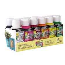 decoart 2 oz 12 color acrylic craft paint set dask353 the home