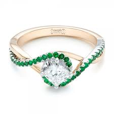 and emerald engagement rings custom two tone emerald and engagement ring 102930