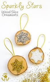 sparkly wood slice ornaments craft room