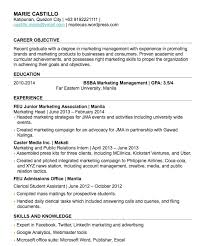 resume exles for objective section how to write a fresh graduate resume with no work experience