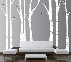 Baby Nursery Tree Wall Decals by Birch Tree Forest Set Vinyl Wall Decal Birds 1295