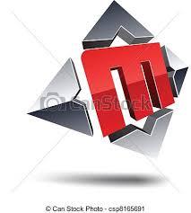 vector clip art of m 3d letter illustration of