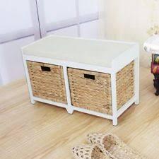 Wicker Storage Bench Wicker Storage Seat Ebay
