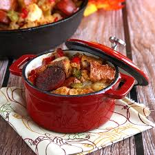 cajun style with shrimp and andouille sausage on sugar