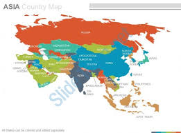 maps of the asian asia continent countries in powerpoint