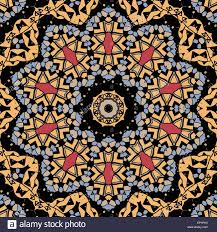 stylized flower mandala like design of yellow color seamless