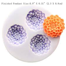 3 cavity flower silicone mold for fondant cake decoration resin
