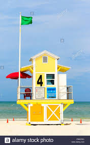 Flag Clearwater Lifeguard Safety Station Clearwater Beach Florida America Usa