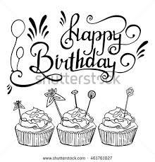 Sketch Birthday Card Hand Drawn Happy Birthday Card Vector Stock Vector 461761027