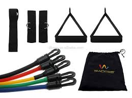 5pc color coded latex resistance exercise bands ankle band set for