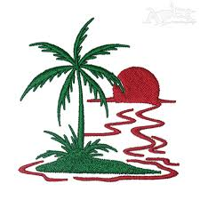 sunset with palm tree embroidery design