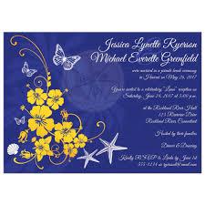 post wedding reception invitation blue yellow white tropical