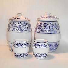 four piece german blue onion kitchen canisters from