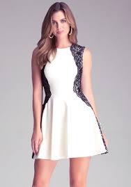 fit and flare dress lyst bebe lace fit flare dress in white