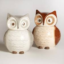 owl canisters for the kitchen owl cookie jars set of 2 world market