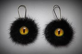 amazon com real black mink fur earrings dragon eye leather