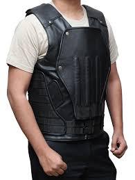 leather vest punisher war zone mens leather vest at amazon men u0027s clothing store