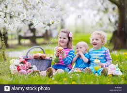 kids picnic basket children lunch outdoors kids with picnic basket in