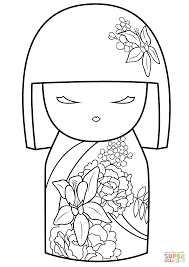 kimmi doll with flower ornament coloring page free printable