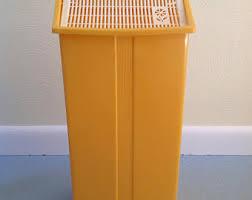 Yellow Wastebasket Plastic Trash Can Etsy
