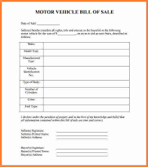 Free Motor Vehicle Bill Of Sale Template by 7 Motor Vehicle Bill Of Sale Pdf Stationery Bills