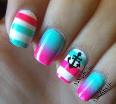 neon nautical nail art nail art by lichelle nailsbylichelle
