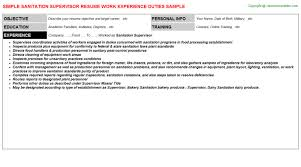 Sanitation Worker Job Description Resume Sanitation Supervisor Resume Sample