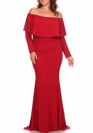 Draped Long Sleeve Dress Red Peplum Draped Long Sleeve Off Shoulder Plus Size Abendkleid