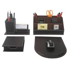 Leather Office Desk 4pcs Set Leather Office Desk Stationery Accessories Organizer Pen