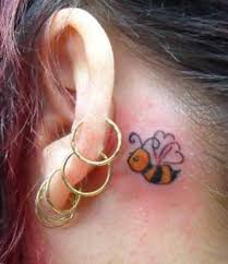small bee tattoo behind ear in 2017 real photo pictures images