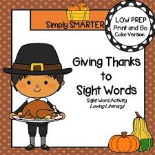giving thanks to sight words low prep thanksgiving themed sight