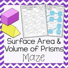 volume u0026 surface area of prisms maze by amazing mathematics tpt