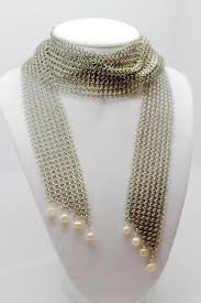 short chain pearl necklace images Stainless steel short chain mail necklace scarf with pink jpeg