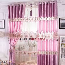 Pink Curtains For Girls Room Artificial Silk Romantic Purplish Pink Color Kids Curtain For