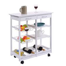 white rolling kitchen trolley cart with pull out shelves kitchen
