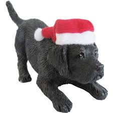 sandicast black labrador retriever with santa hat
