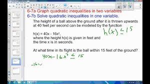 6 7 example 4 solve quadratic inequality application problem youtube
