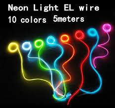 Cheap Neon Lights 5m Flexible Neon Light Glow El Wire Tape Tube Battery Case