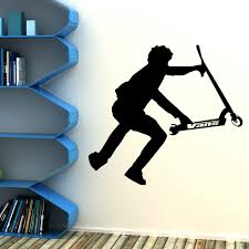 stunt scooter wall art vinyl room sticker transfer decal childrens ideal for teenagers bedroom