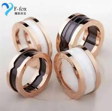bvlgari black rings images Replicas bvlgari white black 14k gold plated couple rings for jpg